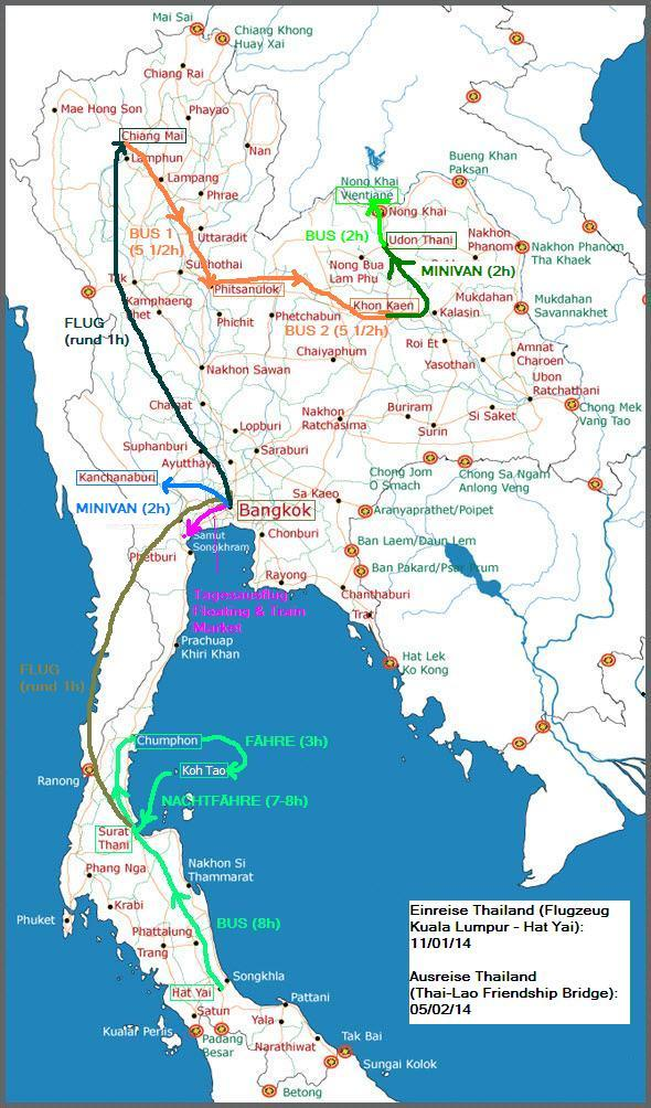 THAILAND REISE MAP